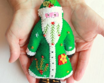 Green Santa is Coming to Town Felt Santa Ornament, Handmade Holiday Felt Ornaments