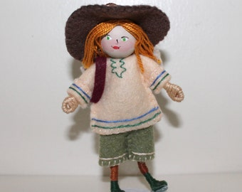 Handmade Felt Art Doll Australian Boy in Expedition