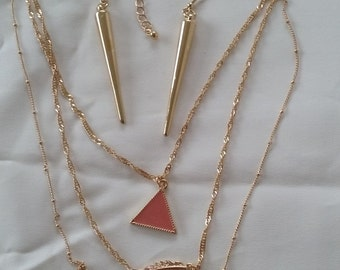 SALE Triple Gold Chains and Peach Pendants Necklace and Complimentary Earrings
