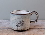 Blue Windy Tree Mug with Dark Handle