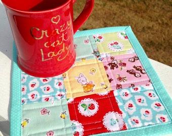 Cute mug rug nine patch quilt cheery mug rug cottage quilt milk sugar flower cute mug mat vintage style snack mat cottage decor
