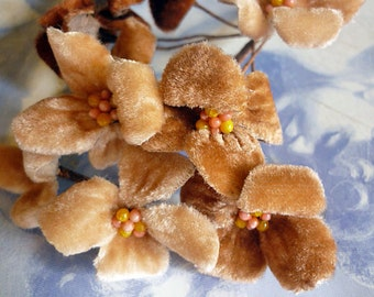 Vintage Millinery Velvet Flowers in Peach and Cocoa