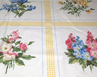vintage 70s cotton print fabric, featuring giant floral sqaures design 1 yard, 2 available, priced PER YARD