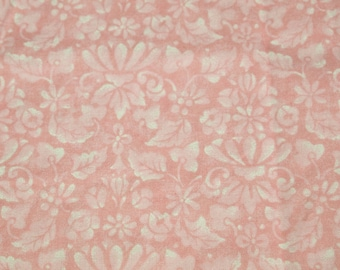 vintage 80s cotton fabric, featuring pretty pink and white classic print, 1 yard, 2 available, priced PER YARD
