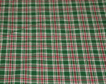 vintage 80s plaid cotton fabric, in red, white and green plaid, 1 yard, 23 inches
