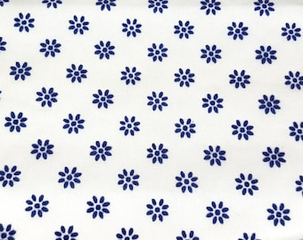 SALE vintage 70s white cotton fabric, featuring navy blue flocked flowers, 1 yard, 2 available, priced PER YARD