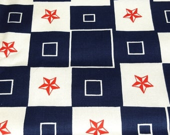 vintage 60s mod novelty fabric featuring red, white and blue stars and squares print, 1 yard, 2 available, priced PER YARD