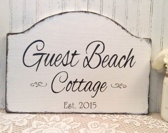 Guest Beach cottage, rustic beach cabin, lake cottage, river cabin, guest lake cabin wooden sign, outdoor cabin sign, wooden cottage sign