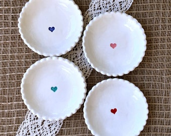 Tiny Heart Biscuit Ring Dish w/Scalloped Edge - Tiny Ring Bowl, Earring Dish, Trinket Dish