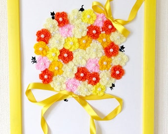 Crochet Flower / Crochet Bouquet - Black Cat in Yellow Bouquet