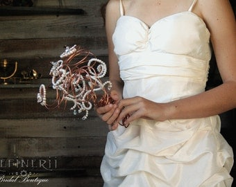 Copper and Twined-Pearl Bouquet For the Alternative Bride. DISCONTINUING.