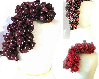 Knit Ruffled Scarf Womens Fashion Accessories Ruffled Scarves