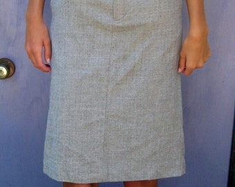 Grey Pencil Skirt . Grey Wool Pencil Skirt .  size 0 skirt