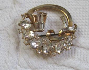 Art Deco Brooch . Czech Glass Brooch . Art Deco Rhinestone Pin