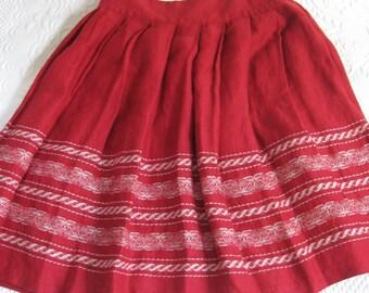 folk skirt . Red Linen Skirt . Pleated Red Linen Skirt . Cherry Red woven Skirt  . Size 4 . woven skirt