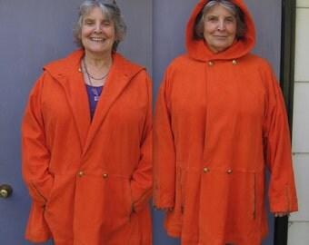 Orange Suede coat . A Line Jacket .  vintage Coach . Vintage Coach Suede Jacket NOS . Size 42 . XL XXL Suede Coat. coach sample coat