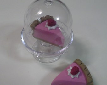 """18"""" Doll Pie in display stand- 18 inch doll food, dessert 1:3 scale"""