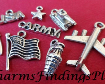 8 Army Theme Assorted US Military Charms
