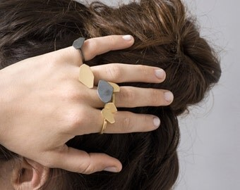 Silver Nugget Ring, Faceted Ring, Geometric Ring, Statement Ring Silver, Gold Statement Ring