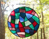 Stained Glass Round Panel, Multicolored Abstract (Clearance)