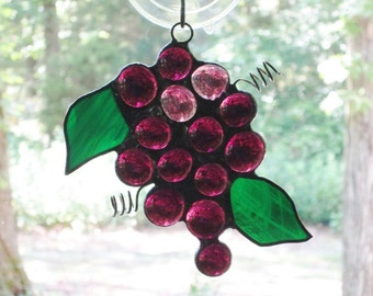 Stained Glass Suncatcher, Purple Grape Cluster with Dark Green Leaves