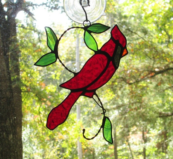 Stained Glass Suncatcher, Red Cardinal on Wire with Leaves