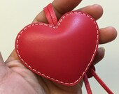 Small size - Love Heart cowhide leather charm ( Red )