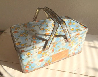 Vintage Canister Floral Chic Tin Box Container Blue and Yellow Large Picnic Style Lunch Box