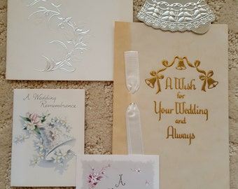 Lot of Vintage Wedding Gift Cards Group - Silver White -