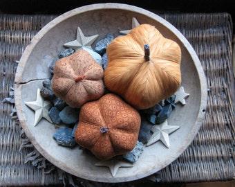 SECONDS SALE - - fabric pumpkins, pumpkins, Fall, Autumn decor, wedding centerpiece  - set of 3 p U m P k I nS with 1 set of bling -111