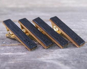 Personalized Groomsmen tie clip set crafted from a Whiskey Barrel