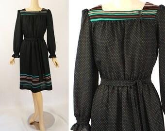 Vintage 1970s Dress Black and Teal Polka Dot Border Print Peasant Style B40