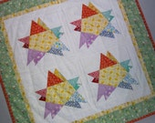 Foundation Pieced DOUBLE STAR 1930s Mini Quilt from Quilts by Elena Table Runner Wall Hanging