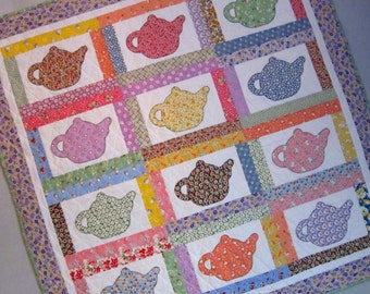 Reserved Listing for Connie baby4340 VINTAGE TEAPOTS Applique Quilt from Quilts by Elena 1930's Reproduction Fabrics