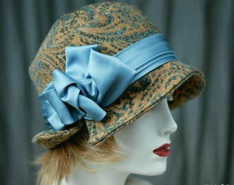 Womens 20's Cloche Hat Steel Blue Great Gatsby, Downton Abbey Fall Winter Style