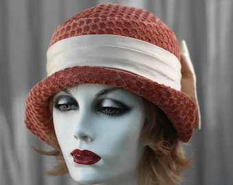 Womens Hat, 1920's Trendy Cloche Hat, Casual Hat, Downton Abbey Hat, Great Gatsby Hat, Vintage Style Hat, Fabric Hat