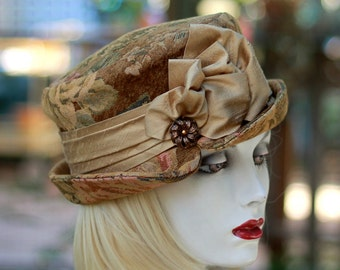 Hat BoHo Edwardian Downton Abbey Riding Bucket Steampunk Floral Tapestry Fabric in Neutral Gold