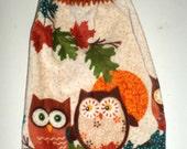 Fall Owl Towel - Crochet Top Towel - Owls Towel - Plush Towel - Hanging Kitchen Towel - Dish Towel - Autumn Owl Towel - Fall Kitchen Decor
