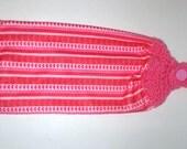 Hanging Valentine Towel - Crochet Top Towel - Microfiber Towel - Absorbent Towel - Kitchen Dish Towel - Pink Hearts Towel - Hand Towel