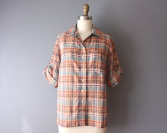 vintage 70s blouse / plaid button up shirt / cuffed sleeve blouse