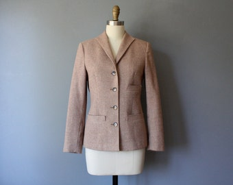 vintage fitted blazer / salmon tweed blazer / womens small preppy jacket / sm-m