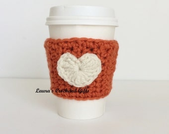 Coffee Cup Cozy, Crochet Coffee Sleeve, Reusable Pumpkin Coffee Cozy, Cream Heart Coffee Cozy, Handmade Coffee Cozy, Fall Heart Coffee Cozy