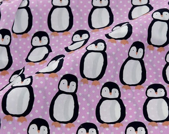4064 - Penguin Polka Dot Satin Cotton Fabric - 55 Inch (Width) x 1/2 Yard (Length)