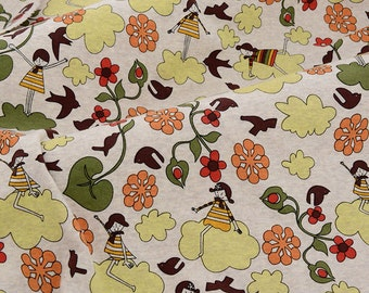 4165 - Girl Bird Flower Cotton Jersey Knit Fabric - 65 Inch (Width) x 1/2 Yard (Length)