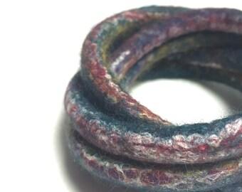Felted Bracelet Bangles Teal Multi Color OOAK Modern Yoga Twisted Felt Collection