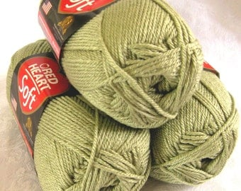Red Heart Soft SPEARMINT green yarn, medium worsted weight yarn, light green