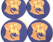 Lavender Golden Retriever Table Coasters, Spoon Rest, Drink Coasters, Office Coasters
