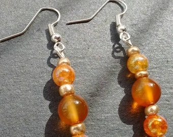 Amber Coloured Earrings, Amber Earrings, Amber Bead Earrings, Amber Drop Earrings, Orange Earrings, Gifts For Women, Bohemian Earrings,