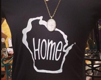 Wisconsin Home - Womens V neck Tshirt  s-m-l-xl-xxl