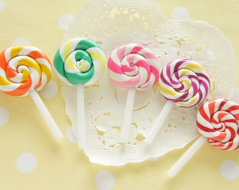 5 pcs Glossy Polymer Clay Rainbow color Lollipop Candy Cabochon (25mm48mm) CD618